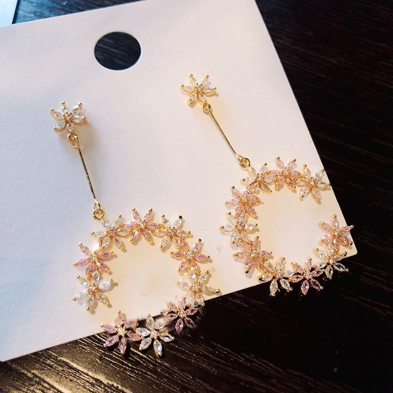 New Korean Delicate Zircon Flower Circle Drop Earrings For Women Girls Elegant Half Round Pendientes Party Jewelry