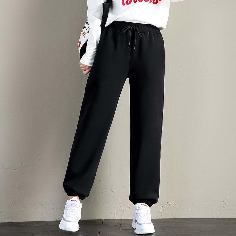 Winter Sweatpants Women Black Casual Joggers Lamb Wool Keep Warm Trousers Thicken Velvet Wool Workout Sporty Pants Streetwear
