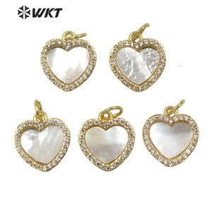 MP199 Wholesale Fashion gold tiny white shell charm heart pendant lady populare white heart charms for necklace