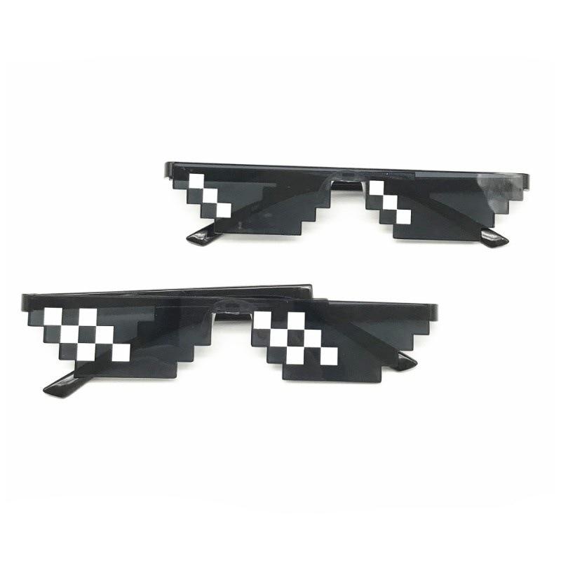 Lentes con diseño de píxel Thug vida estilo caliente mosaico popular logo individualidad cuadrícula gafas cuadradas para hombre