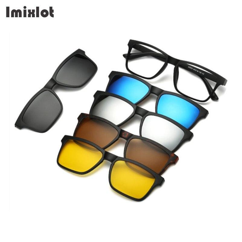 5 unids/set de gafas de sol de moda con Clip magnético para mujer, gafas de hombre con Clip polarizado, gafas ópticas para miopía, montura de gafas