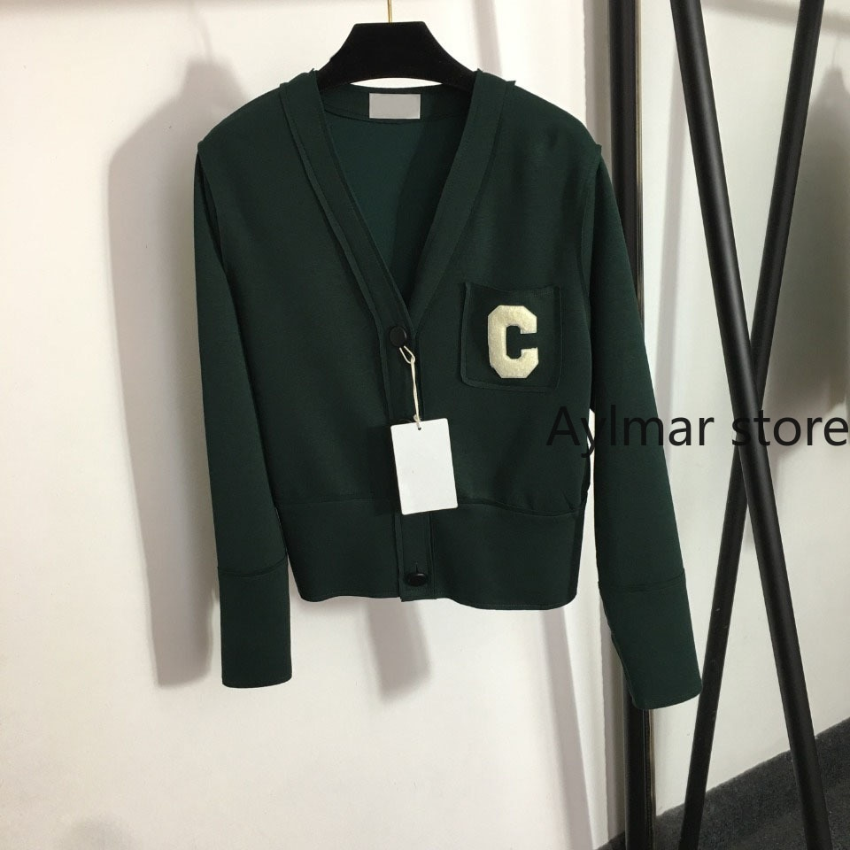 High quality  autumn winter new temperament women's c letter pocket V-Neck long sleeve top fashion simple knitted cardigan coat enlarge