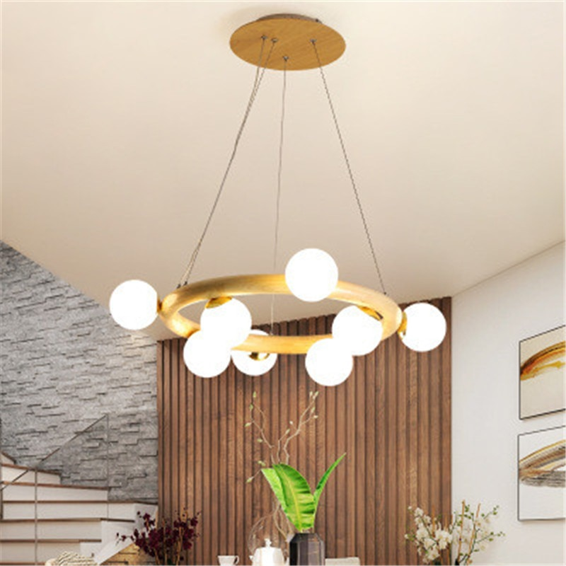 Luces nórdicas de sala de estar moderno minimalista de madera maciza dormitorio estilo japonés Registro Creativo comedor habitación Hotel Bar araña