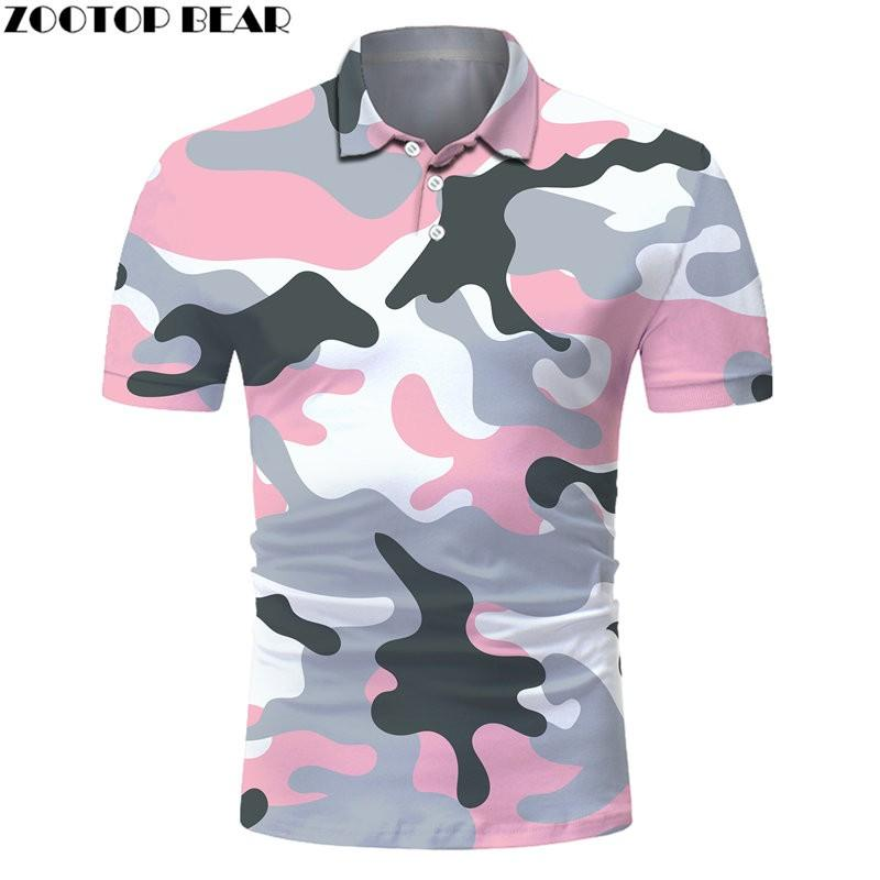 ZOOTOP, camiseta Polo con estampado 3D de oso, ropa de camuflaje colorida para hombre, camiseta Polo de manga corta de verano para hombre, nueva moda, camisetas ajustadas para hombre