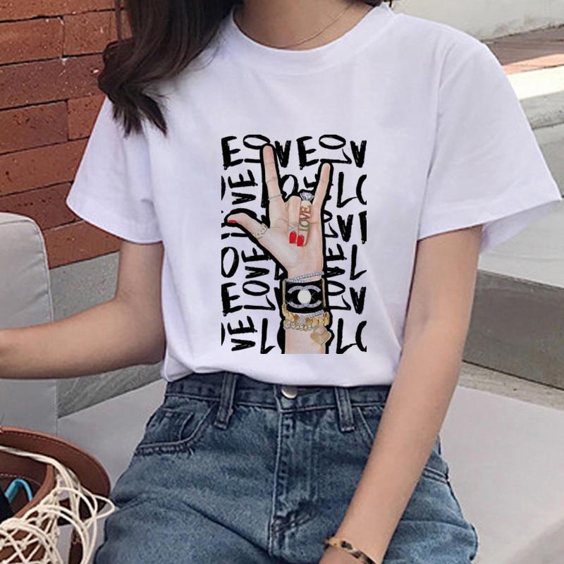 Gesture Printing T-shirt Women's Fashion T-shirt Feminists Harajuku Short-sleeved T-shirt GRL PWR Ullzang Shirt Women's Clothing