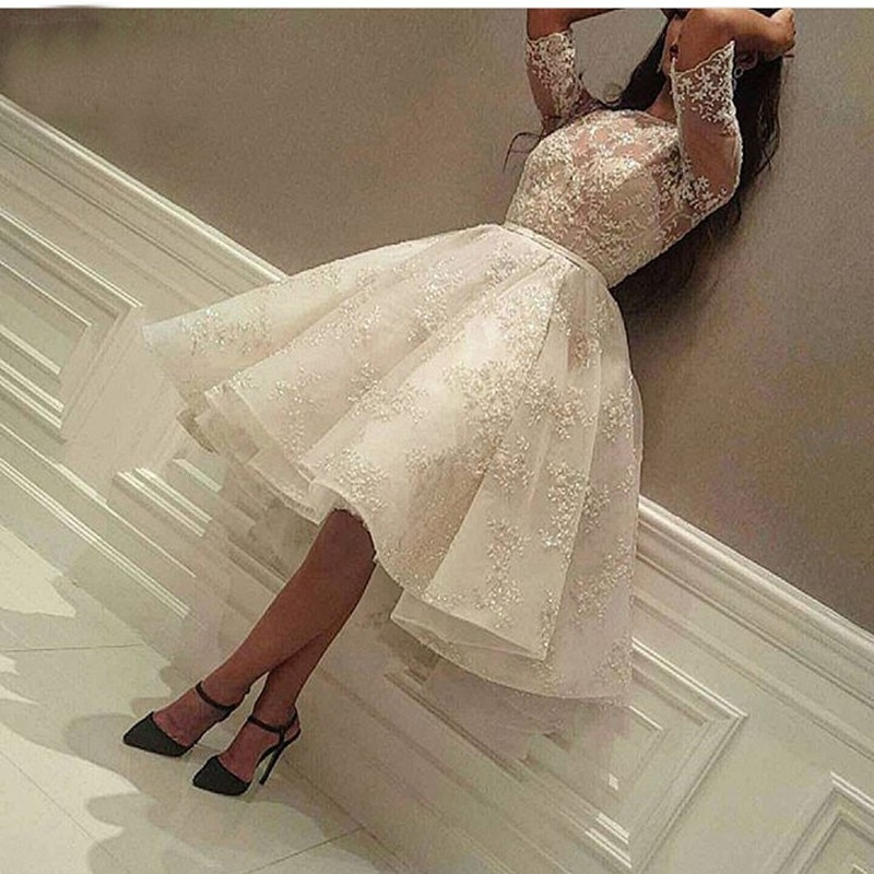 Fashion Ivory Short Prom Dress Lace Applique Beads Half Sleeve Knee Length Dubai Arabic Short Cocktail Dress Party Gowns