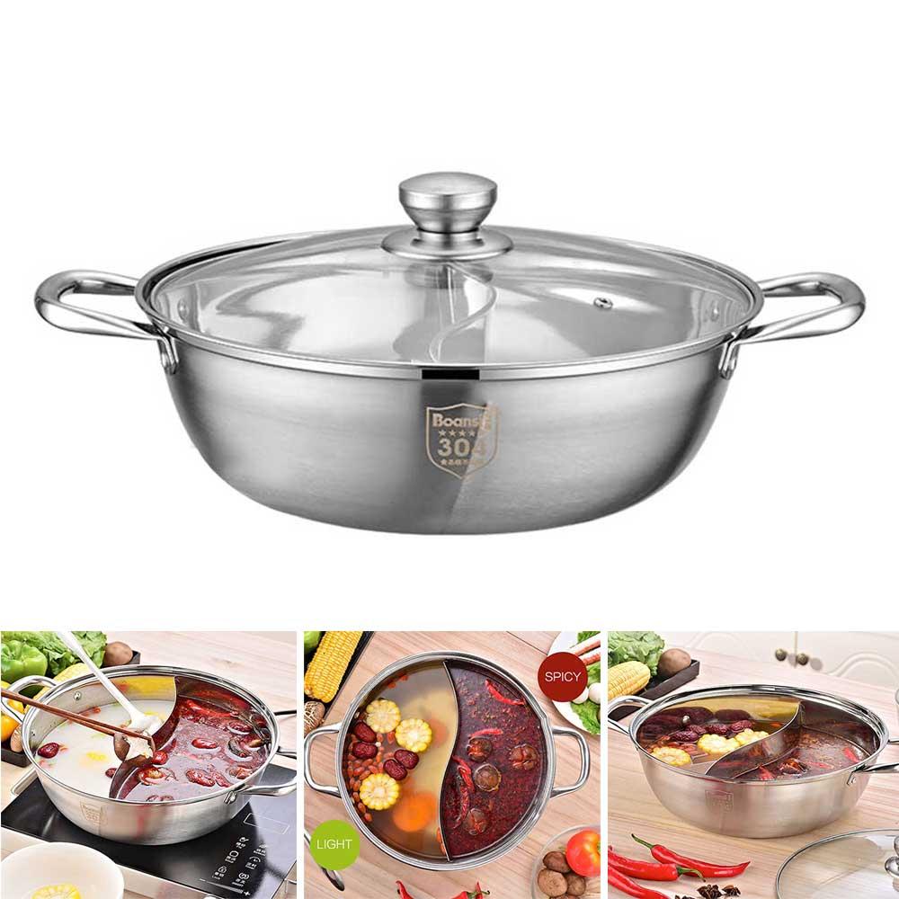 وعاء ساخن منزلي من الفولاذ المقاوم للصدأ ، نكهة مزدوجة ، التعريفي السميك ، غلاية شوربة شفافة