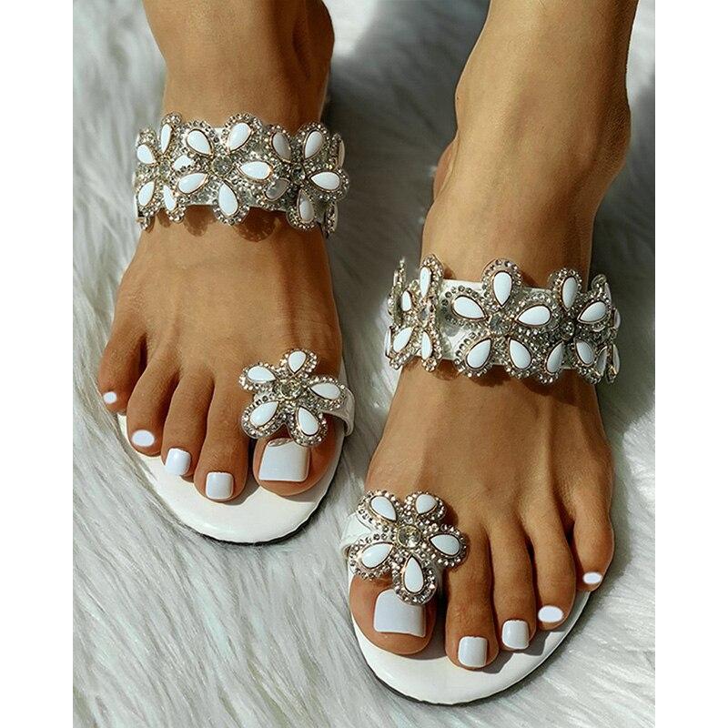 Zapatillas De Mujer, Sandalias De cristal con punta plana Floral, zapatos bohemios informales para playa, Sandalias De Mujer, Sandalias De Verano D30