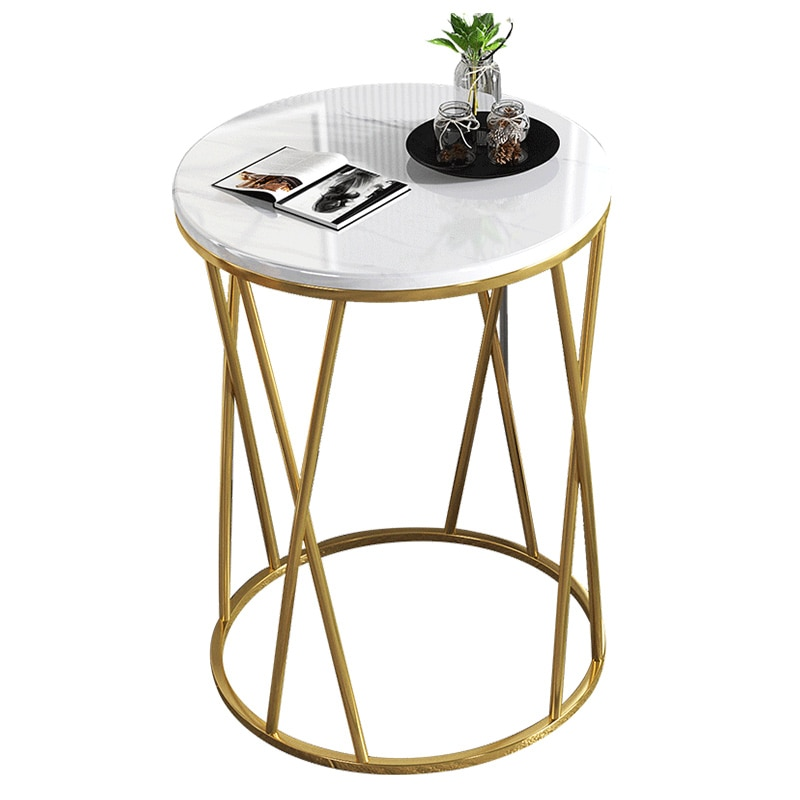 Nordic Light Luxury Coffee Table Sofa Corner Table Bedside Bedroom Marble Pattern Small Round Table Side Tables Furniture