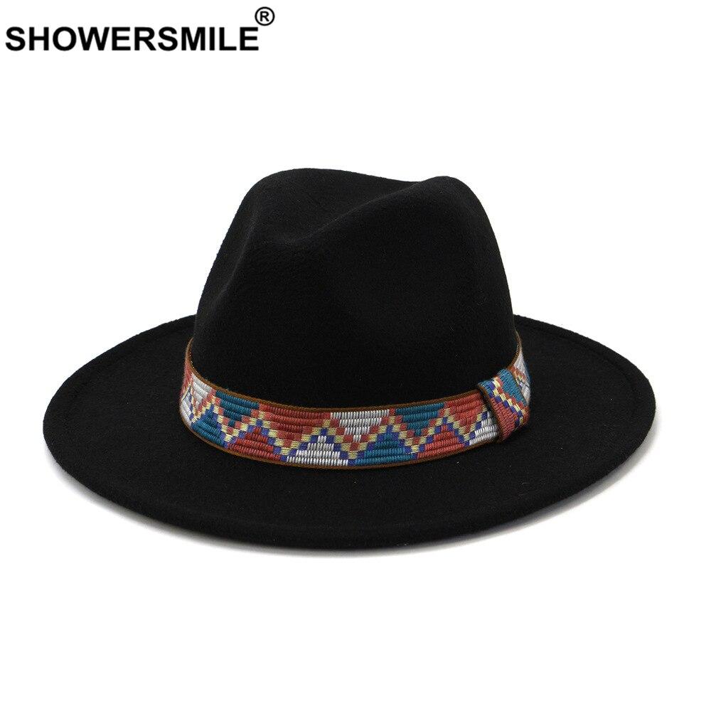 SHOWERSMILE Black Fedora Hat Sombrero Women Wool Vintage Trilby Felt Wide Brim Elegant Lady Winter Autumn Jazz Caps Chapeau vintage wool felt octagonal cloche hat