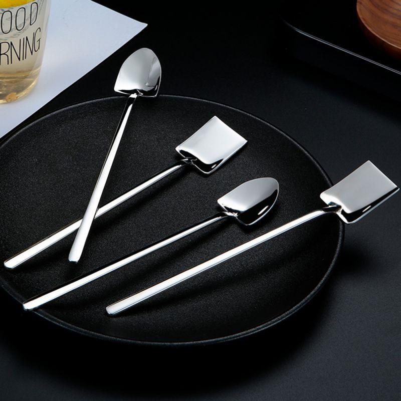 Cuchara de acero inoxidable 304, pala de punta plana Industrial Retro creativa, pala de postre, mango largo, cuchara de hielo agitadora
