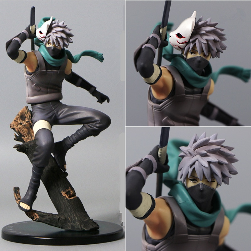 model fans inflames toys naruto 30cm height 1 6 hatake kakashi contain two head action figure toy for collection 23CM Anime naruto figurine Change head Hatake Kakashi PVC Action Figure The Dark Kakashi Figures Collectible Toy
