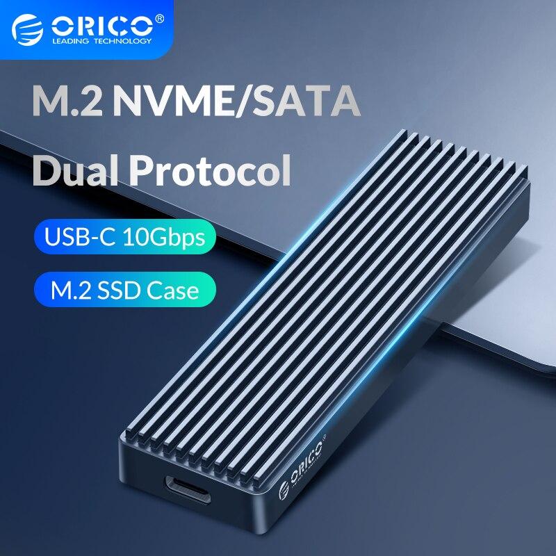 ORICO-علبة M.2 SSD مزدوجة البروتوكول ، متوافقة مع محرك أقراص ثابتة M2 NVME NGFF SATA SSD ، لمفتاح PCIE M B M ، USB C ، 10 جيجابت في الثانية