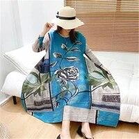 miyake pleated dress 2021 summer female print wide version retro noble fashion comfortable loose large size dress dress women
