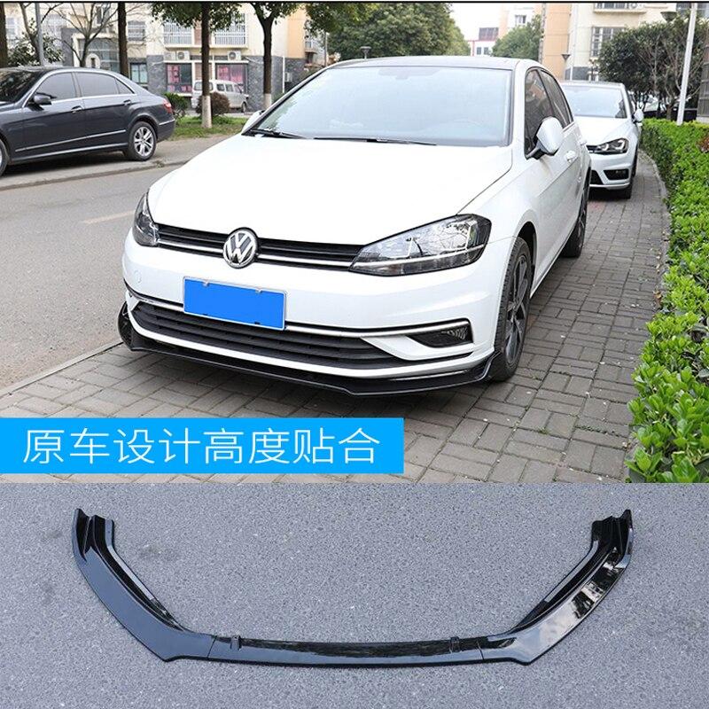 Front Bumper Lip Splitters for VW Volkswagen Golf 7.5 Standard Hatchback 4-Door 2018 2019 3PCS/Set PP Black