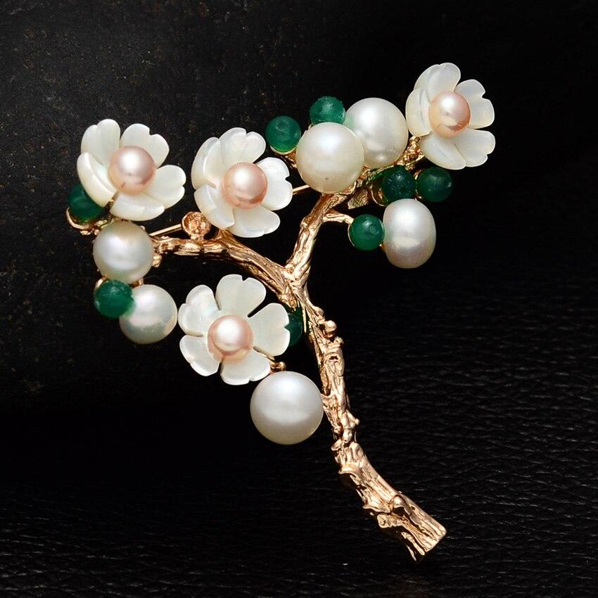Женская Винтажная брошь с пресноводным жемчугом ferlena, брошь в форме цветка с искусственным кристаллом ручной работы