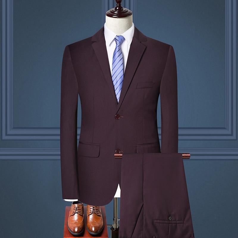 Formal Business Office Men Suit Slim Fit Two Pcs Set Wedding Male Dress Tuxedo Single-Breasted Masculine Jacket+Pants Plus Size