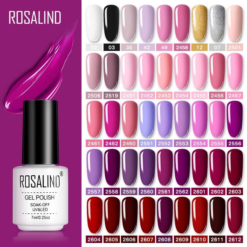 ROSALIND Gel Polish Set UV Vernis Semi Permanent Primer Top Coat 7ML Varnish Gel Nail Art Manicure Gel Lak Polishes Nails недорого
