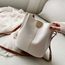Lady Bucket Bag Contrast Color Leather Casual Large Capacity Simple Shoulder Bag Wholesale 2021 New