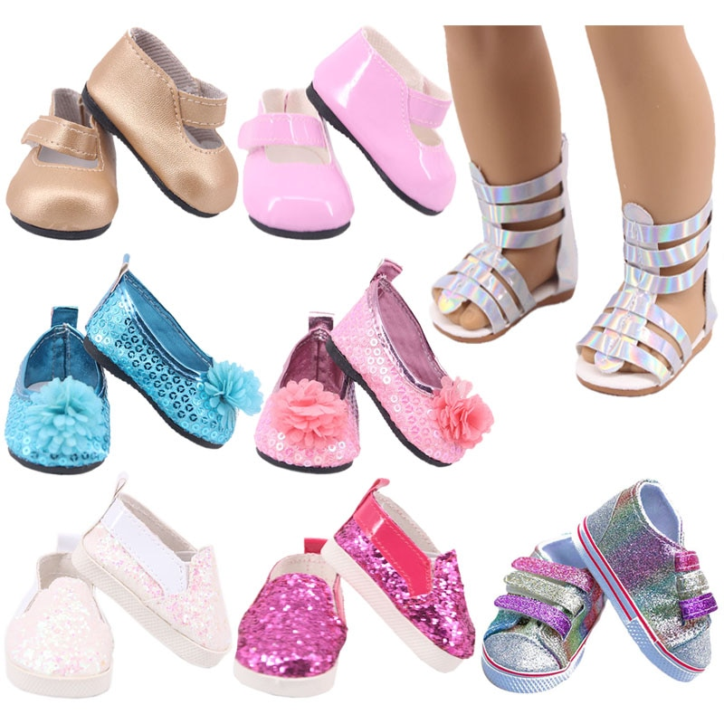 Doll Shoes 7 Cm Sequin Cute Sandals Shoes Boots For 18 Inch American&43 Cm Baby New Born Doll Accessories Girl`s Toy  1/3 Blyth недорого