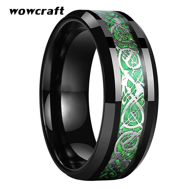8mm Black Tungsten Wedding Band for Men Celtics Dragon Ring Green Carbon Fiber Inlay Polish Finish Beveled Edges Comfort Fit