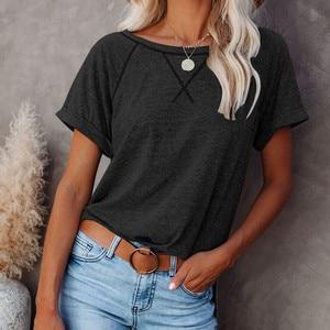 Women's T-shirts Women's Solid Color T-shirt Ladies Short Sleeve Round Neck T-shirt Ladies Casual Summer Women Clothing 여성 의류