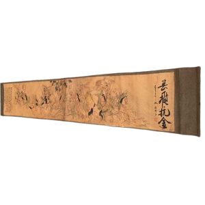 """Chinese Old Picture Paper """"Figure Painting """" Long Scroll Painting Long Yuefei Kang Jin"""