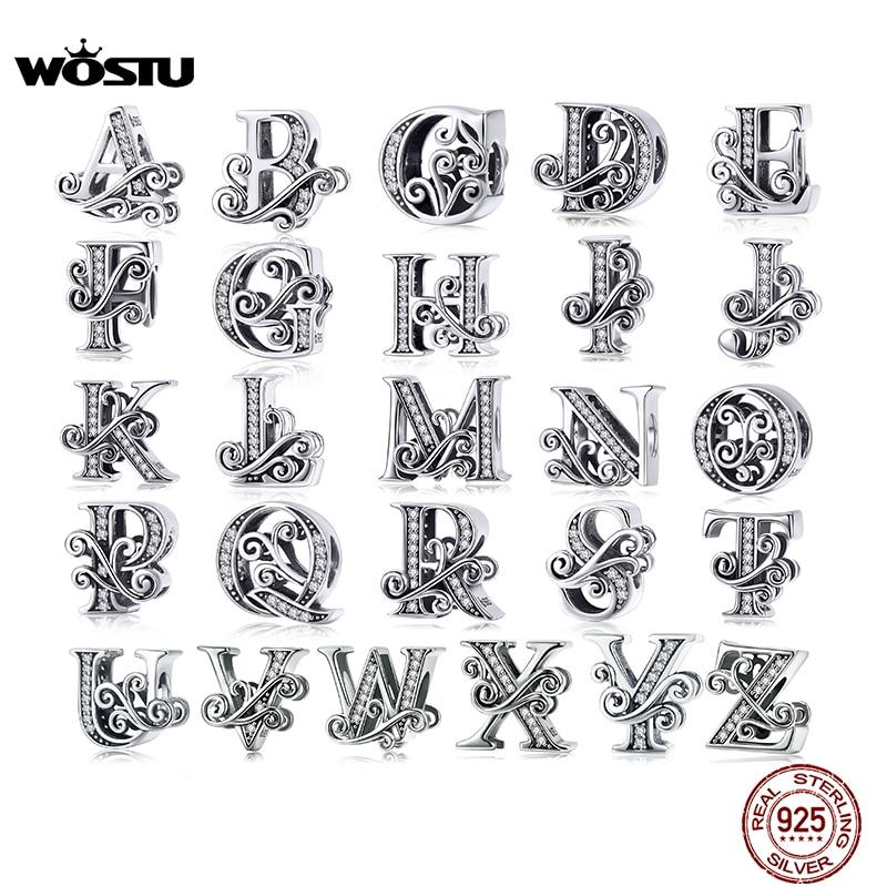 aliexpress - WOSTU 925 Sterling Silver 2019 A-Z 26 Letters Dazzling Beads Fit Original Charm Bracelet Pendant Bangle For Women Jewelry CTC030