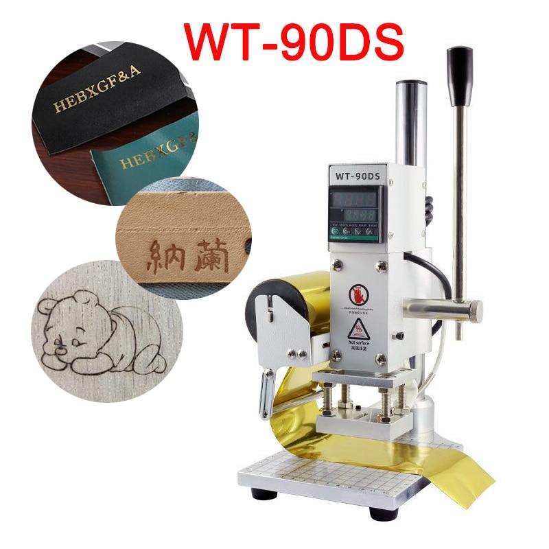 WT-90DS Ручной цифровой термопресс 300 Вт ПВХ кожа карты Книга дерево логотип тиснение машина для горячего тиснения фольгой