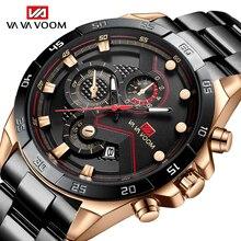 VAVA VOOM Classic Business Mans Watches Quartz Watch Luxury Men's Wrist Watch Black Gold Stainless S