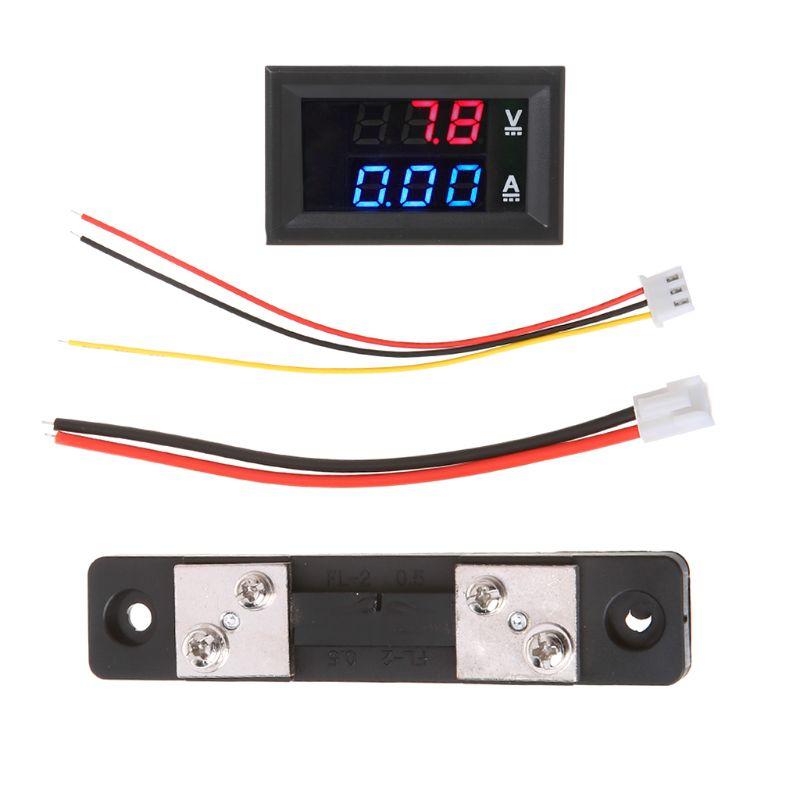 DC 0-100V/50A rojo azul voltímetro Digital amperímetro LED pantalla Dual voltaje indicador de corriente Monitor Detector