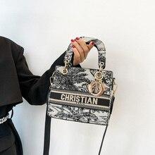 Embroidery Princess Diana bag metal pendant 2021 new handbag small square bag retro net red shoulder