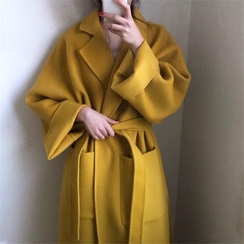 Abrigo largo elegante para mujer abrigo de invierno con cinturón sólido cárdigan de talla grande abrigo de lana suelto femenino amarillo cálido abrigo de lana