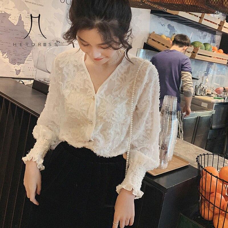 Heydress 2020 primavera nueva borla de pluma Camisa de gasa femenina elegante blanco cuello en V mangas trompeta manga larga cardigan Suelto