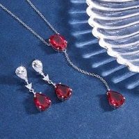 funmode red water drop cubic zircon ring earring necklace for wedding bridal party jewelry sets accessories wholesale fs263