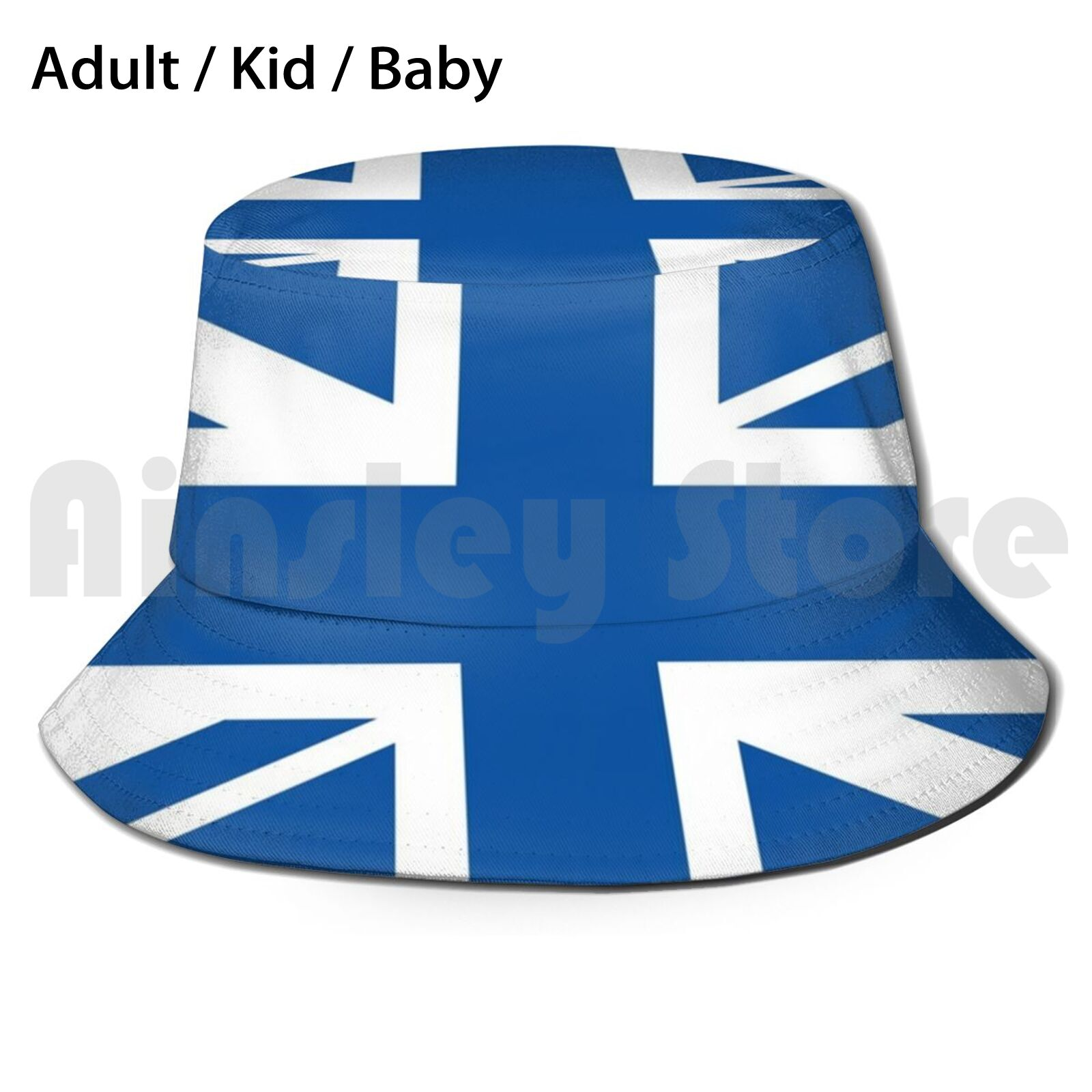 Blue & White Union Jack Flag Bucket Hat Adult kid baby Beach Sun Hats Union Jack Uk Flag Everton Leicester City Glasgow