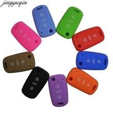 Jingyuqin remoto 3 botões dobrável flip silicone chave do carro caso capa para kia rio k2 k5 sportage sorento titular
