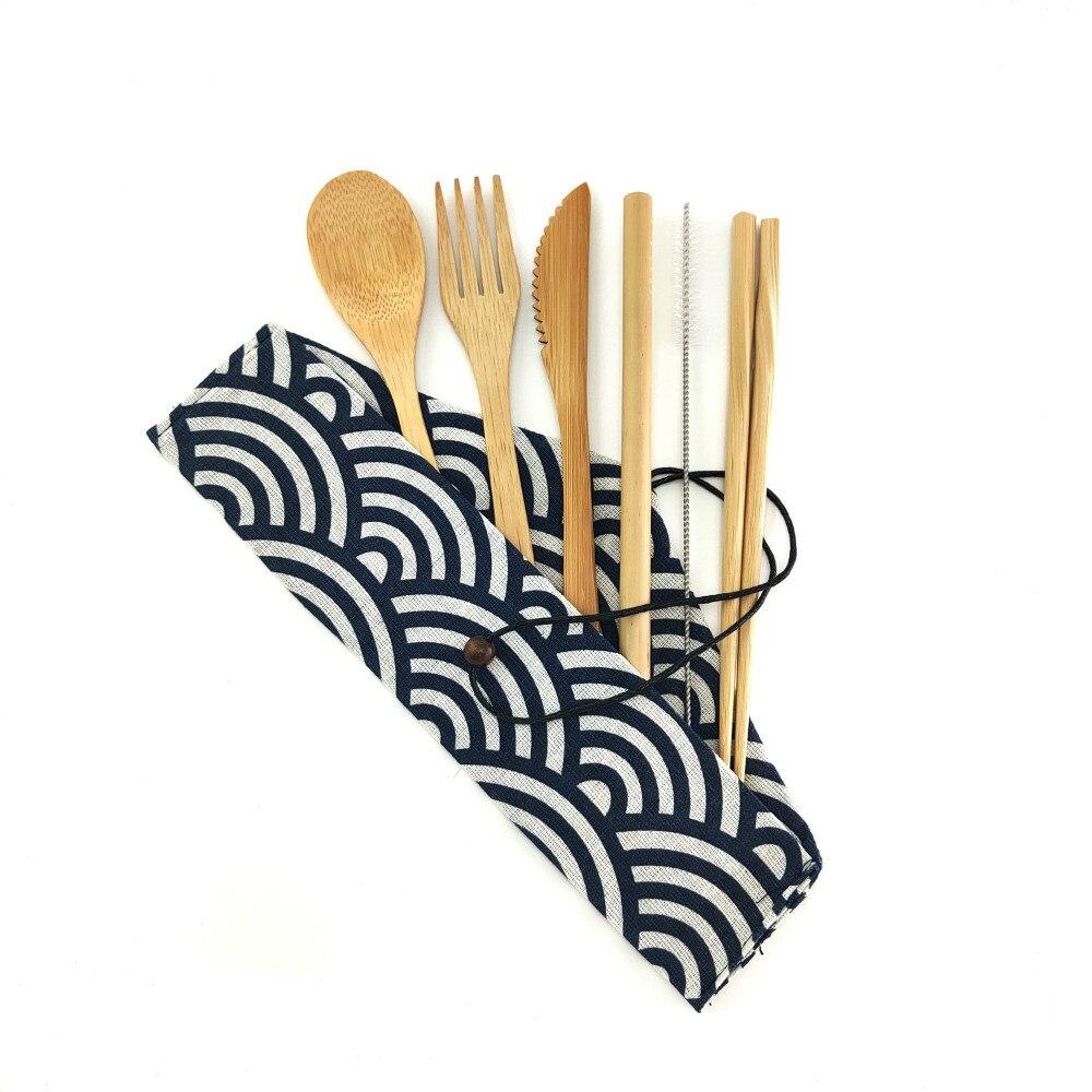 Бамбуковая посуда для путешествий, набор многоразовых столовых приборов из бамбука, чехол для переноски, набор столовых приборов из дерева, набор для путешествий, зубная щетка с бамбуковым углем