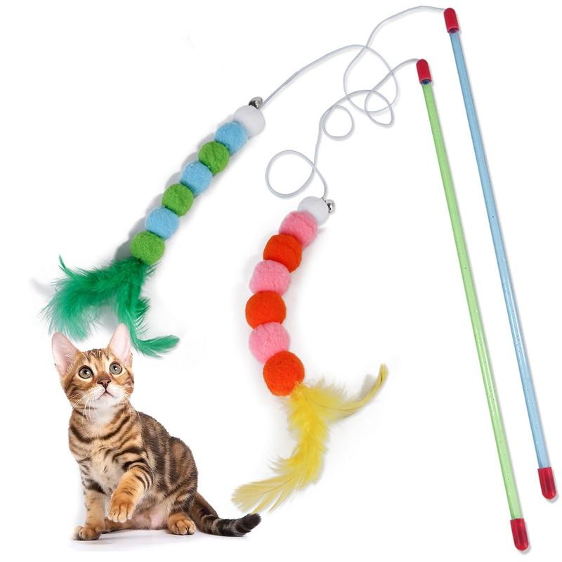 Novo gato engraçado vara de penas brinquedos de pelúcia gato nip peru pena brinquedo de provocação gatos suprimentos 2019