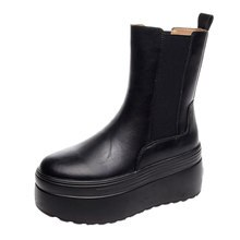 Fujin Ankle Boots Genuine Leather Black Motorcycle Women Boots Platform Chunky Heel Shoes For Female