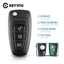 KEYYOU 교체 3 버튼 포드 포커스 Fiesta 2013 Fob 케이스 HU101 블레이드 433Mhz ASK 용 접이식 원격 제어 키 뒤집기