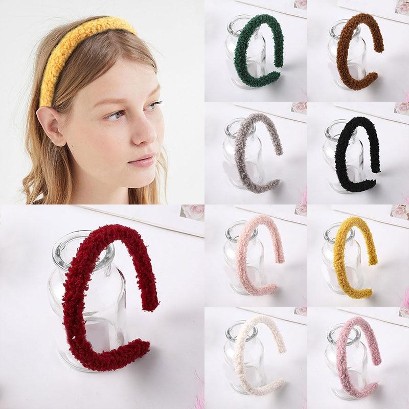 Cinta del pelo de felpa suave de Color caramelo para mujeres de invierno, cabeza de lana de cordero peluda, Aro para la cabeza, Color sólido, accesorios para el cabello, diadema para mujeres