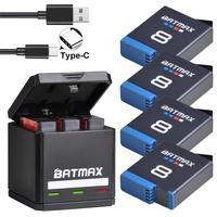 Батарея Batmax для Gopro Hero 8, литий-ионная батарея для Black Hero 8, Black GoPro Hero 7, камера Akku + зарядное устройство с тройным USB портом типа C