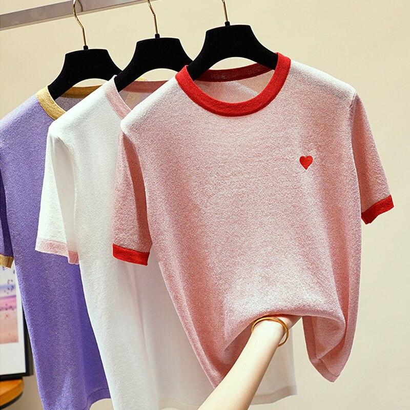 HLBCBG Lurex brillo mujeres T camisa de pantalón corto Casual mangas o-Cuello...