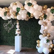 98 pçs balão guirlanda arco kit branco ouro confetes balões palmeira artificial folhas festa de aniversário decorações de casamento