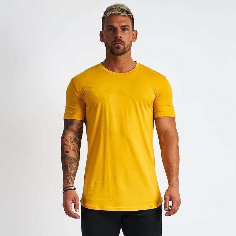 (Puede agregar su propio logotipo) camiseta hombres deporte flaco corto Tee camisa hombre gimnasio Fitness culturismo Tops de entrenamiento camiseta a medida