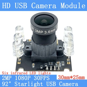 Industrial CCTV 1080P HD 30FPS Six infrared LED lights USB Camera module starlight night vision wide dynamic 2MP support audio