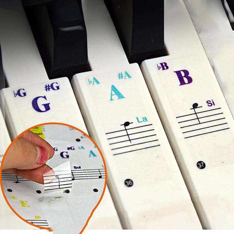 Pegatina de Teclado de Piano 88/61/49/37 tecla teclado electrónico pegatina de Piano principiante ayudante Stave calcomanía de nota