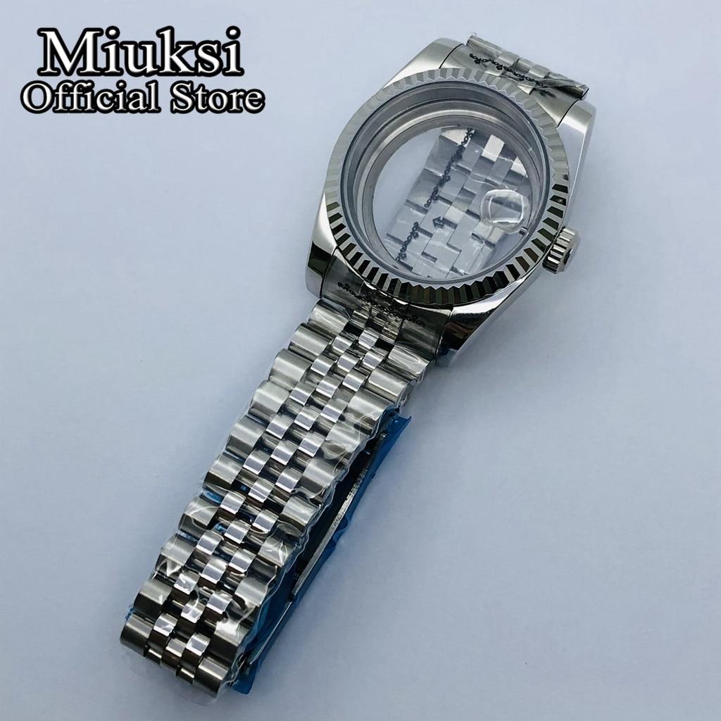 Miuksi 36mm/40mm sapphire glass case jubilee bracelet fit NH35 NH36 ETA2836 Mingzhu DG2813 3804 Miyota 8205 8215 821A movement enlarge