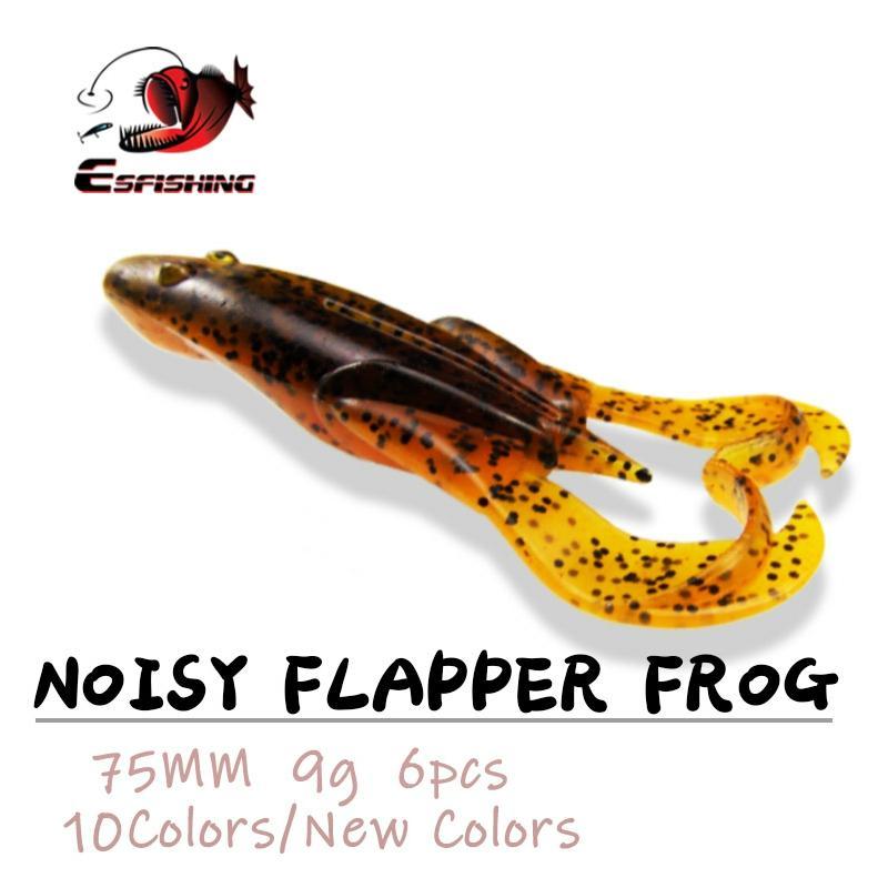 Рыболовная приманка ESFISHING Frog, шумная блесна, 75 мм 9 г, 6 шт., приманка для рыбалки на водной основе, Спиннер, мягкая искусственная блесна